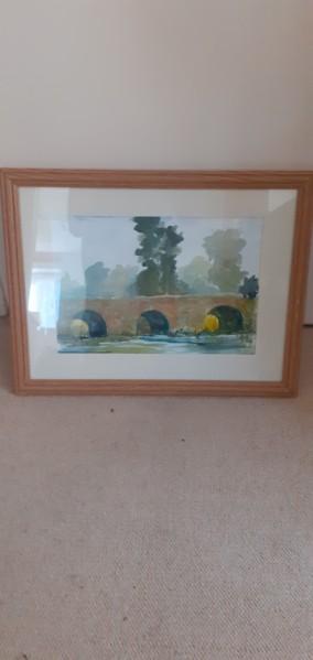 Watercolour of Bridge by Frank Rowley