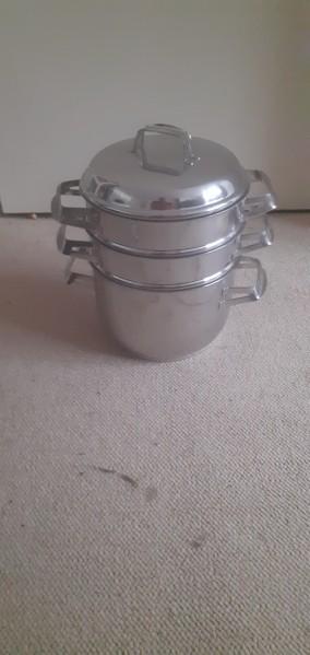 Stainless steel steamer set 3 pan